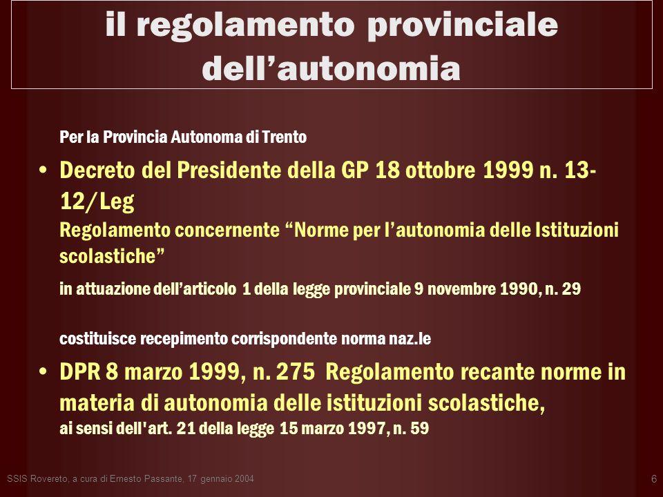 il regolamento provinciale dell'autonomia