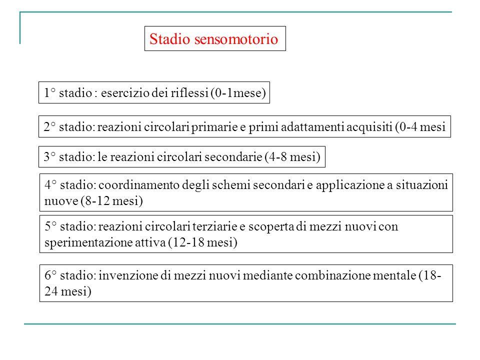 Stadio sensomotorio 1° stadio : esercizio dei riflessi (0-1mese)