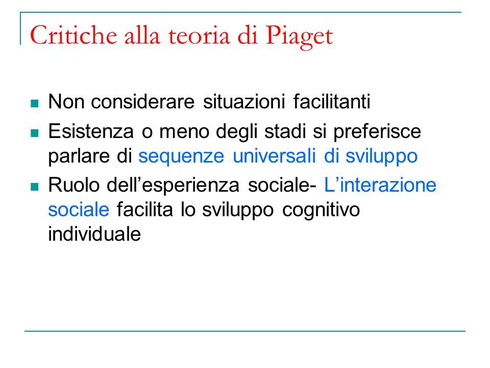 Critiche alla teoria di Piaget