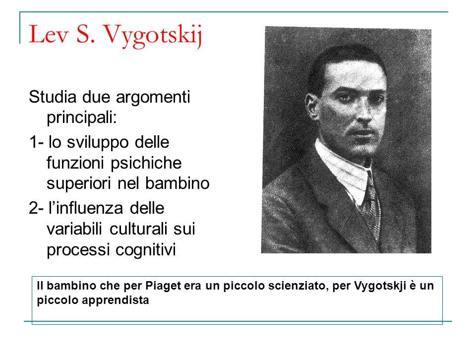Lev S. Vygotskij Studia due argomenti principali: