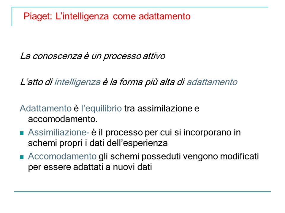 Piaget: L'intelligenza come adattamento