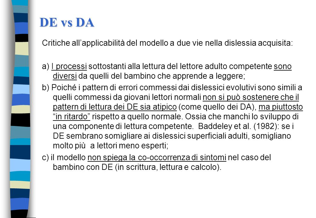 DE vs DA Critiche all'applicabilità del modello a due vie nella dislessia acquisita: