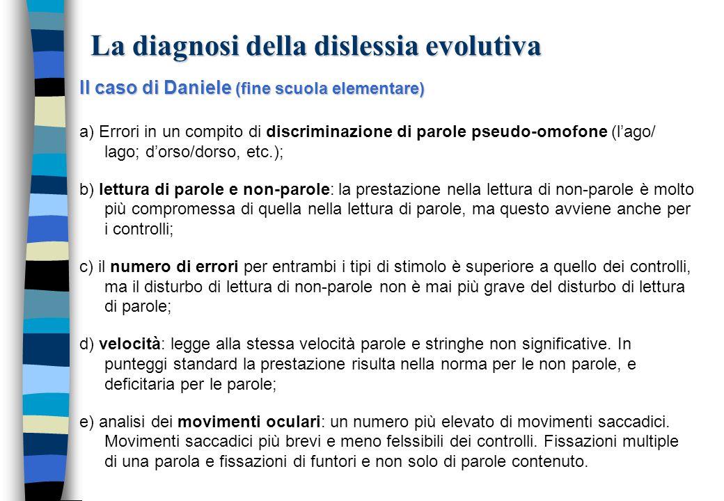 La diagnosi della dislessia evolutiva