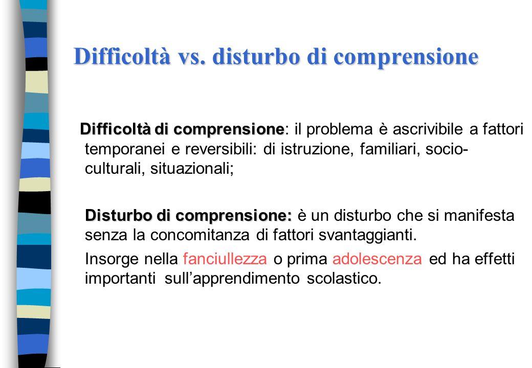Difficoltà vs. disturbo di comprensione