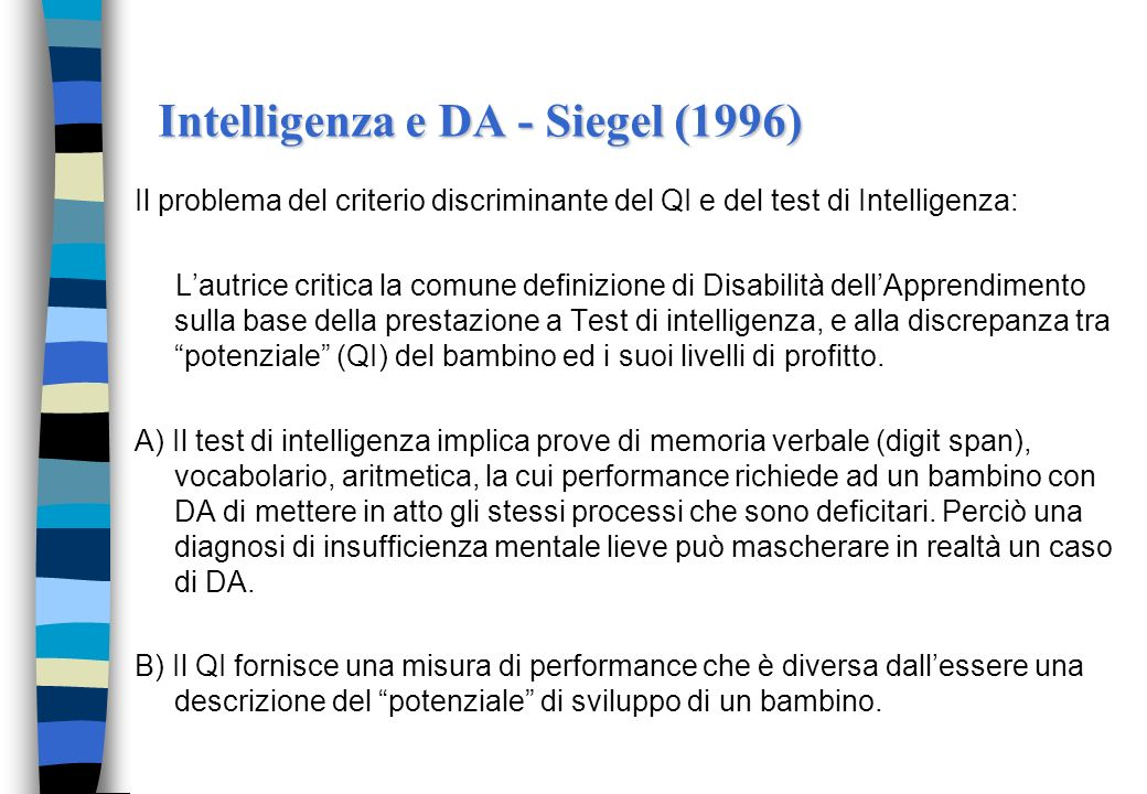 Intelligenza e DA - Siegel (1996)