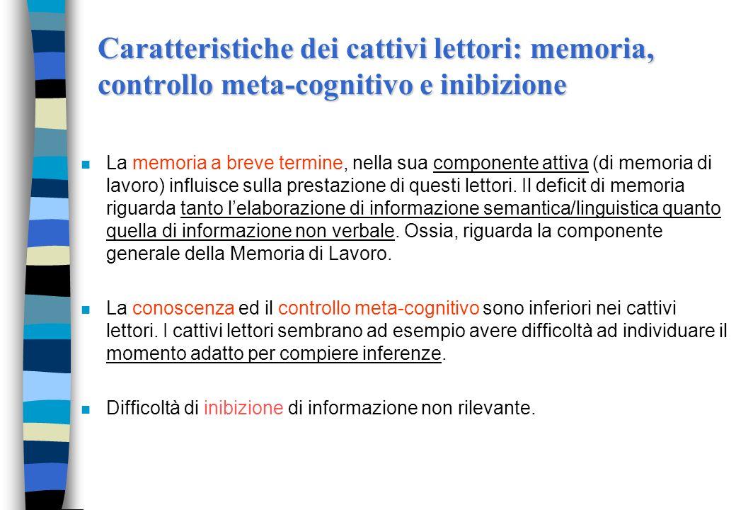 Caratteristiche dei cattivi lettori: memoria, controllo meta-cognitivo e inibizione