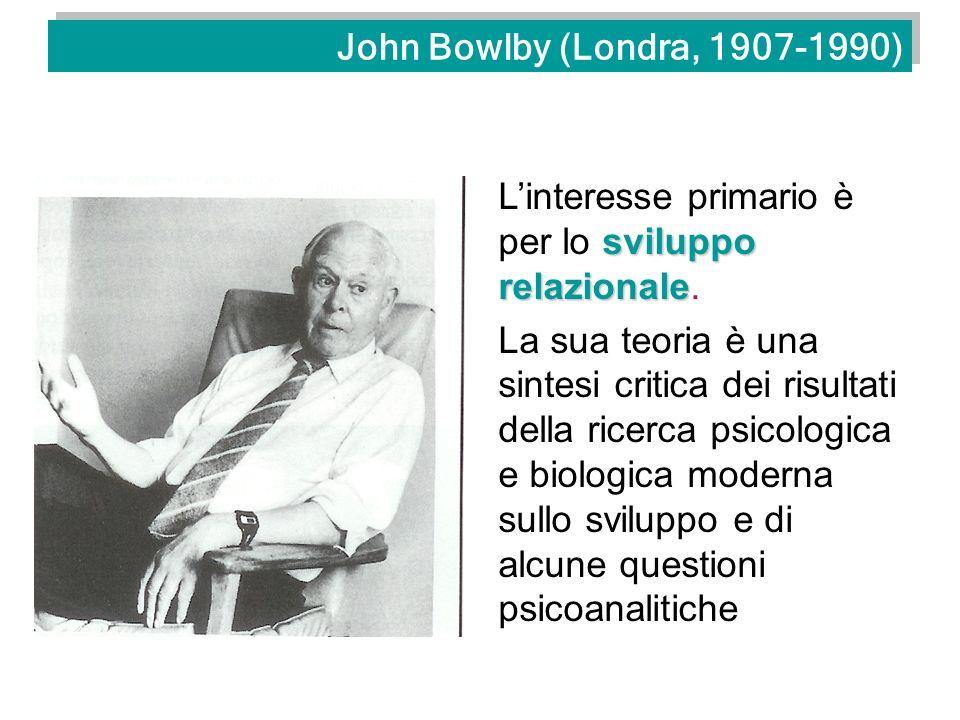John Bowlby (Londra, 1907-1990) L'interesse primario è per lo sviluppo relazionale.