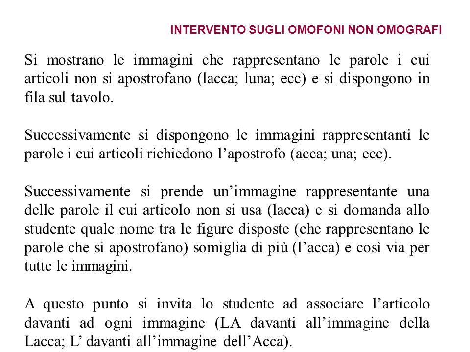 INTERVENTO SUGLI OMOFONI NON OMOGRAFI
