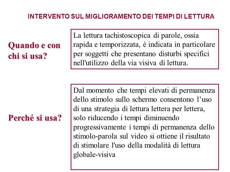 INTERVENTO SUL MIGLIORAMENTO DEI TEMPI DI LETTURA