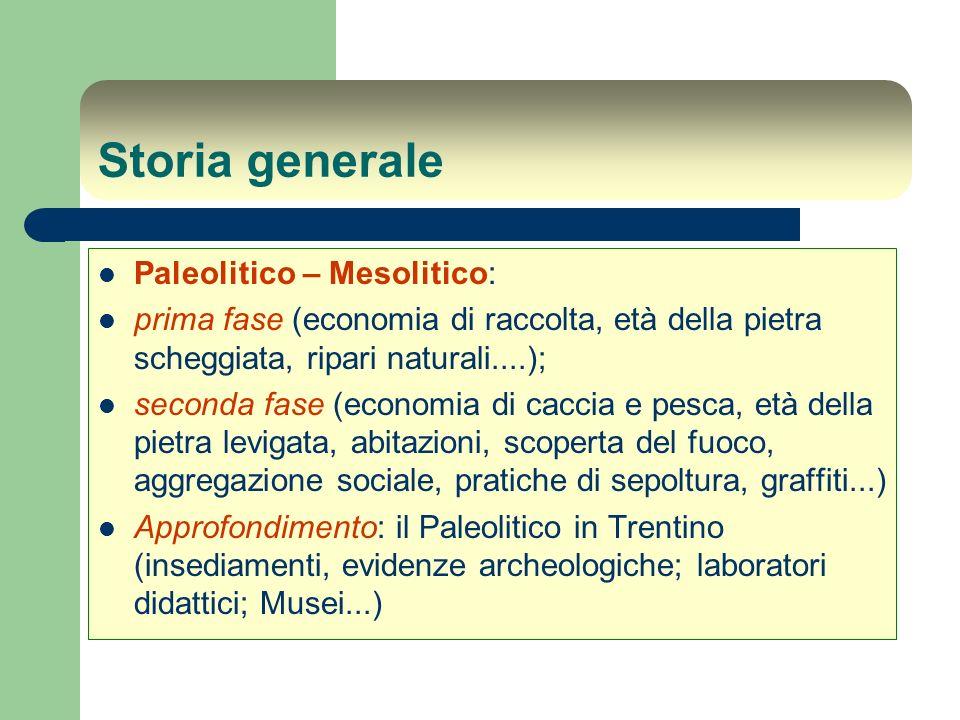 Storia generale Paleolitico – Mesolitico: