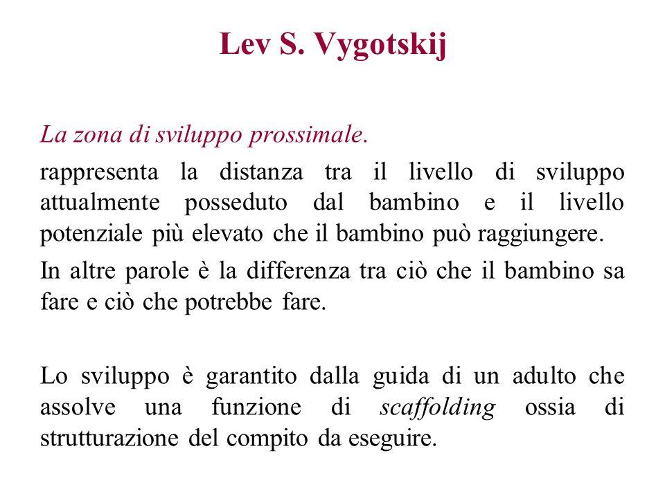 Lev S. Vygotskij La zona di sviluppo prossimale.