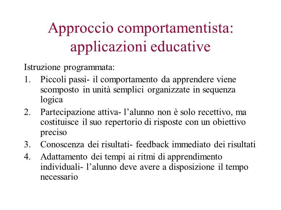 Approccio comportamentista: applicazioni educative