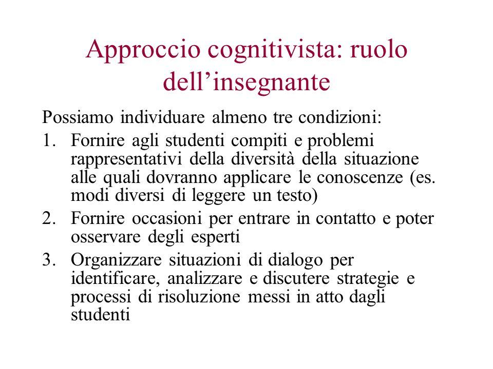 Approccio cognitivista: ruolo dell'insegnante