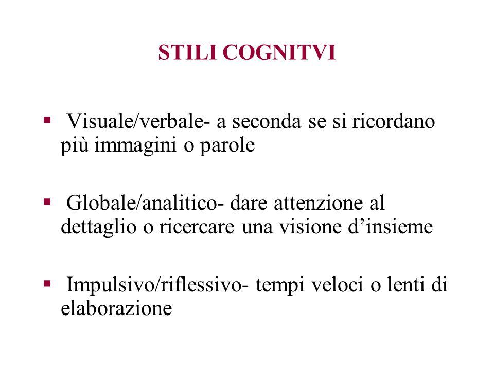 STILI COGNITVI Visuale/verbale- a seconda se si ricordano più immagini o parole.