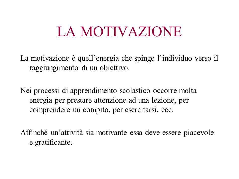 LA MOTIVAZIONE La motivazione è quell'energia che spinge l'individuo verso il raggiungimento di un obiettivo.