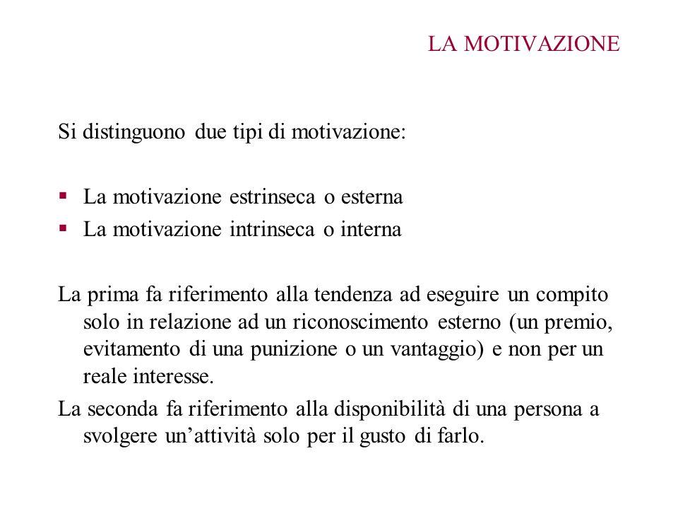LA MOTIVAZIONE Si distinguono due tipi di motivazione: La motivazione estrinseca o esterna. La motivazione intrinseca o interna.
