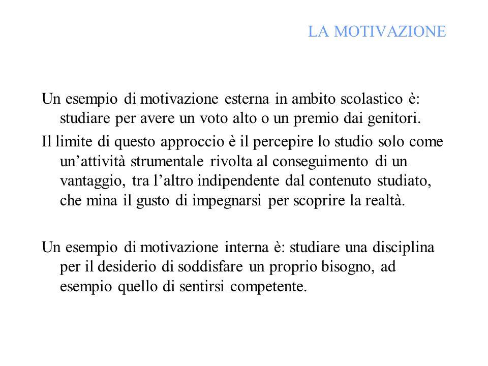 LA MOTIVAZIONE Un esempio di motivazione esterna in ambito scolastico è: studiare per avere un voto alto o un premio dai genitori.