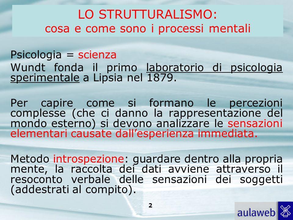 LO STRUTTURALISMO: cosa e come sono i processi mentali