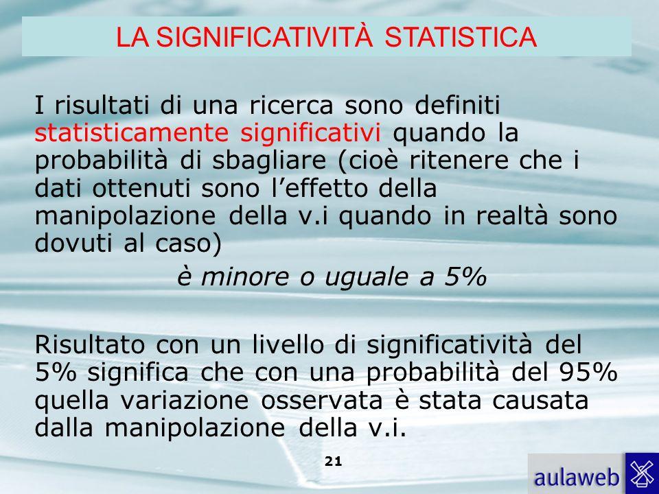 LA SIGNIFICATIVITÀ STATISTICA