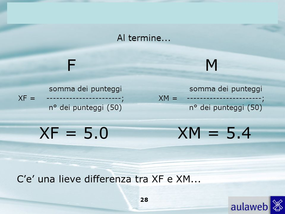 F M XF = 5.0 XM = 5.4 C'e' una lieve differenza tra XF e XM...