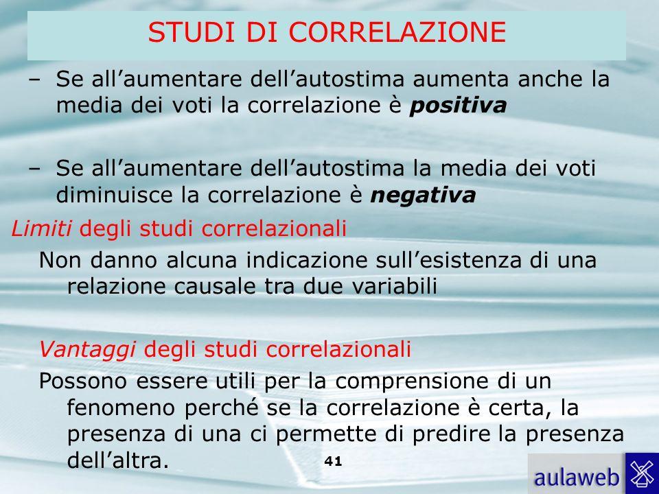 STUDI DI CORRELAZIONE Se all'aumentare dell'autostima aumenta anche la media dei voti la correlazione è positiva.