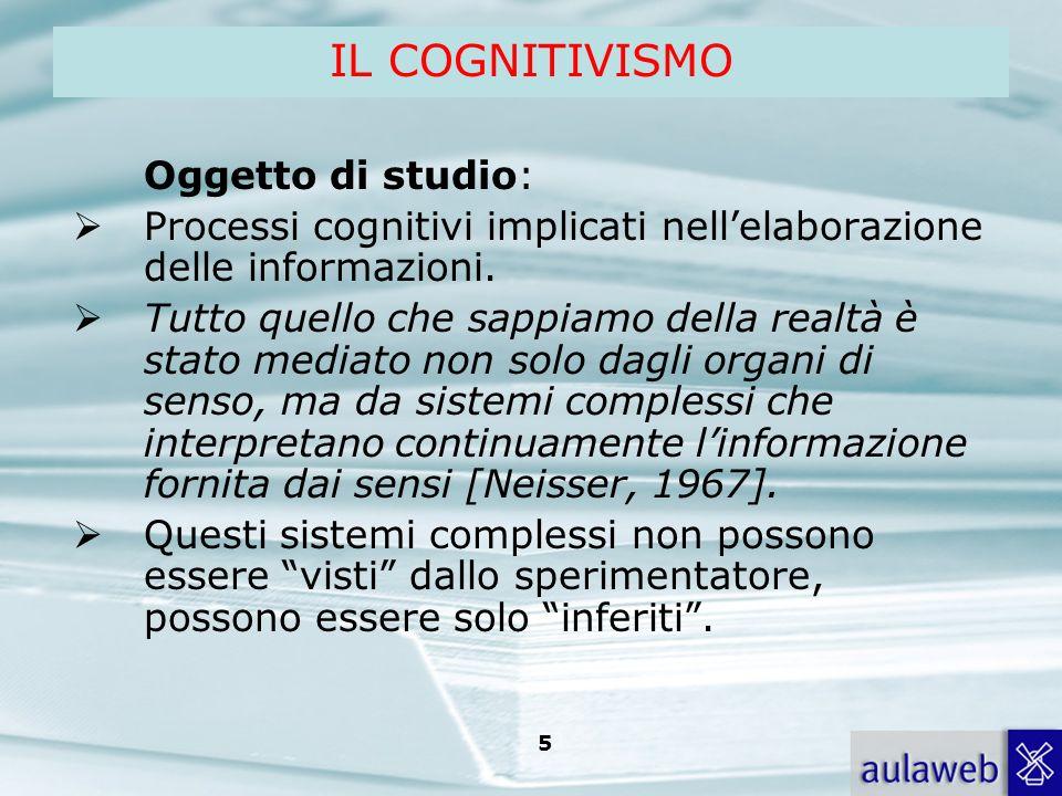 IL COGNITIVISMO Oggetto di studio: