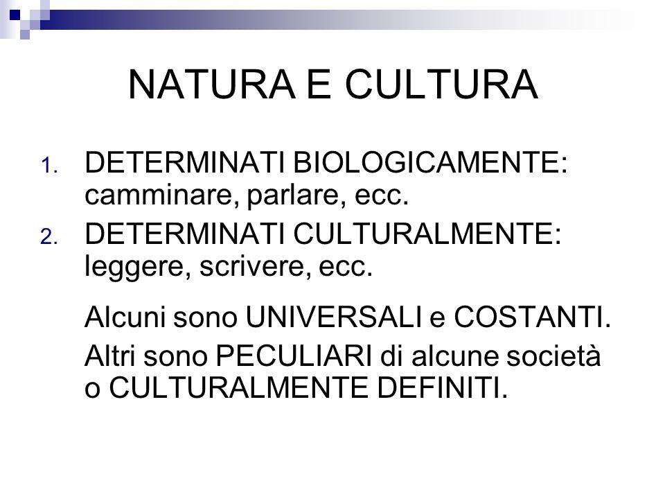NATURA E CULTURA DETERMINATI BIOLOGICAMENTE: camminare, parlare, ecc.