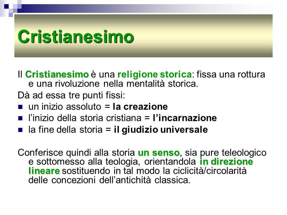 Cristianesimo Il Cristianesimo è una religione storica: fissa una rottura e una rivoluzione nella mentalità storica.