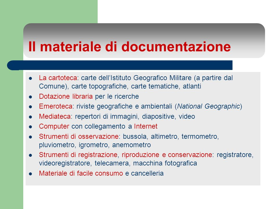 Il materiale di documentazione