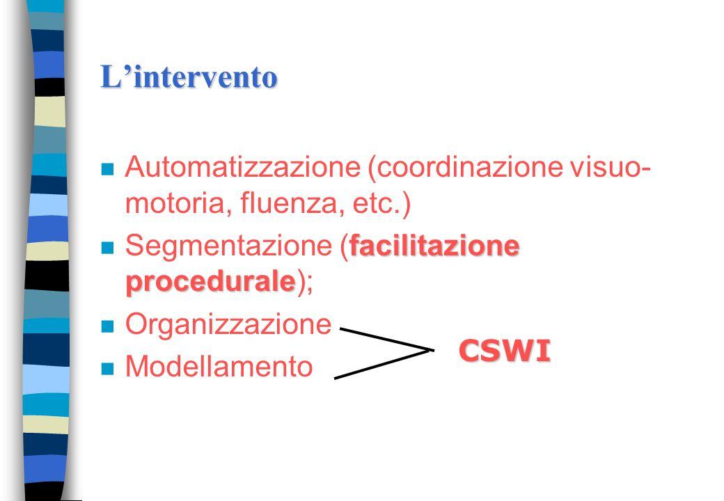 L'intervento Automatizzazione (coordinazione visuo-motoria, fluenza, etc.) Segmentazione (facilitazione procedurale);