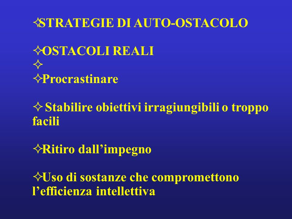 STRATEGIE DI AUTO-OSTACOLO