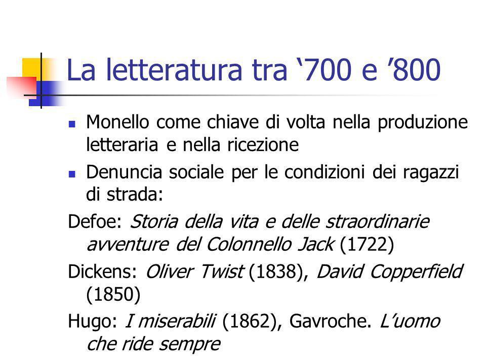 La letteratura tra '700 e '800 Monello come chiave di volta nella produzione letteraria e nella ricezione.