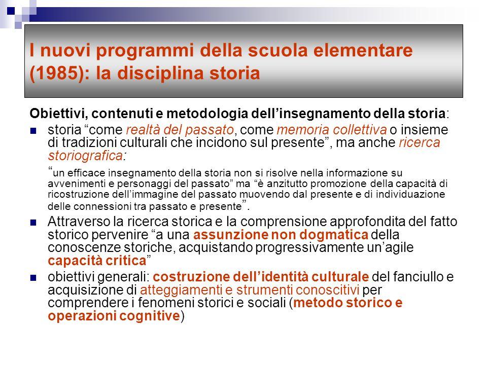 I nuovi programmi della scuola elementare (1985): la disciplina storia
