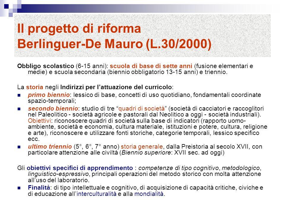 Il progetto di riforma Berlinguer-De Mauro (L.30/2000)
