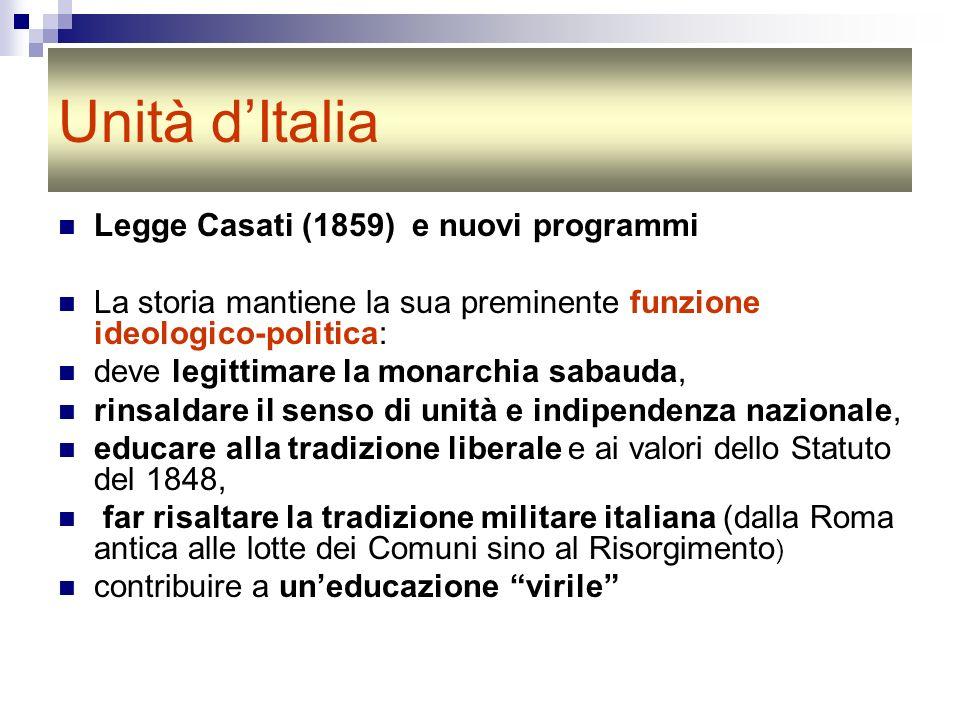 Unità d'Italia Legge Casati (1859) e nuovi programmi