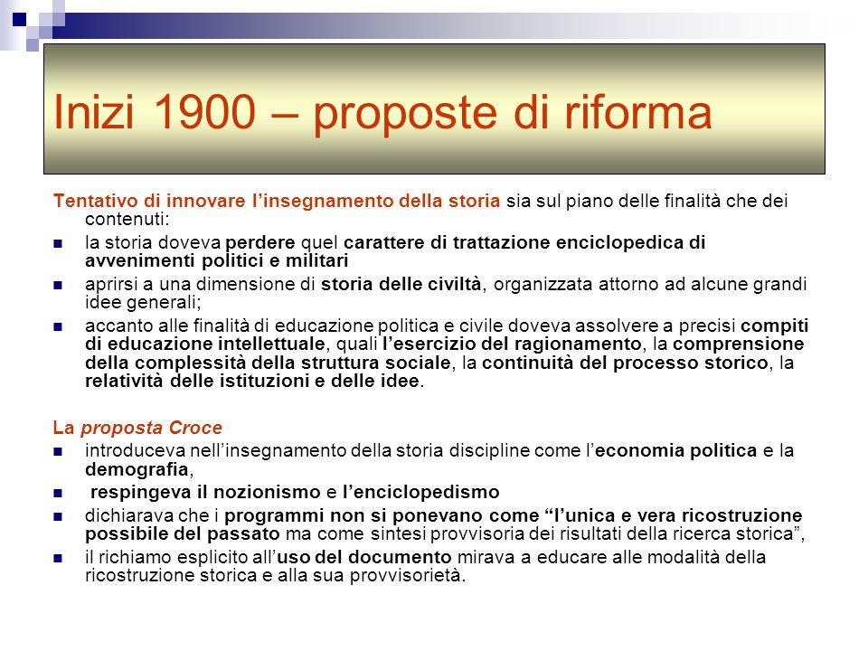 Inizi 1900 – proposte di riforma