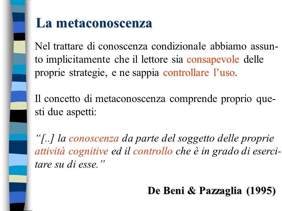 La metaconoscenza Nel trattare di conoscenza condizionale abbiamo assun- to implicitamente che il lettore sia consapevole delle.