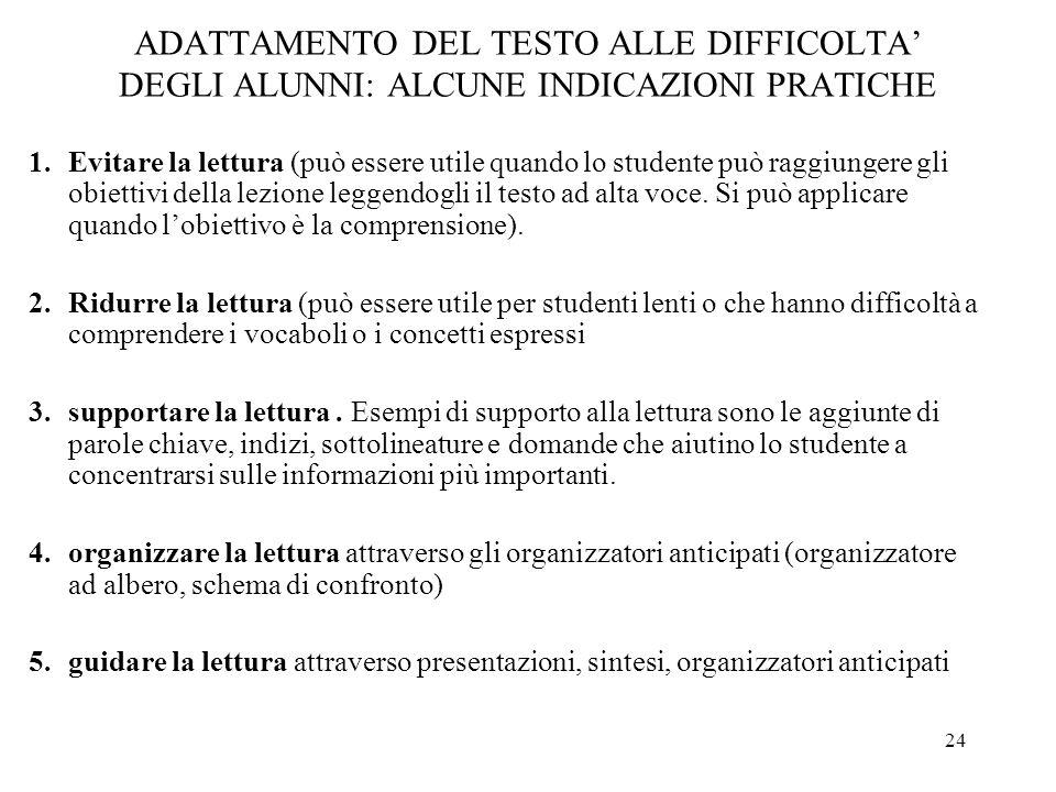 ADATTAMENTO DEL TESTO ALLE DIFFICOLTA' DEGLI ALUNNI: ALCUNE INDICAZIONI PRATICHE
