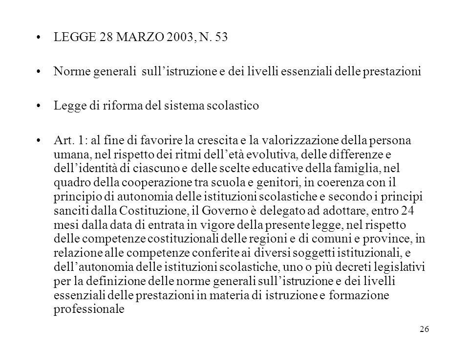 LEGGE 28 MARZO 2003, N. 53 Norme generali sull'istruzione e dei livelli essenziali delle prestazioni.