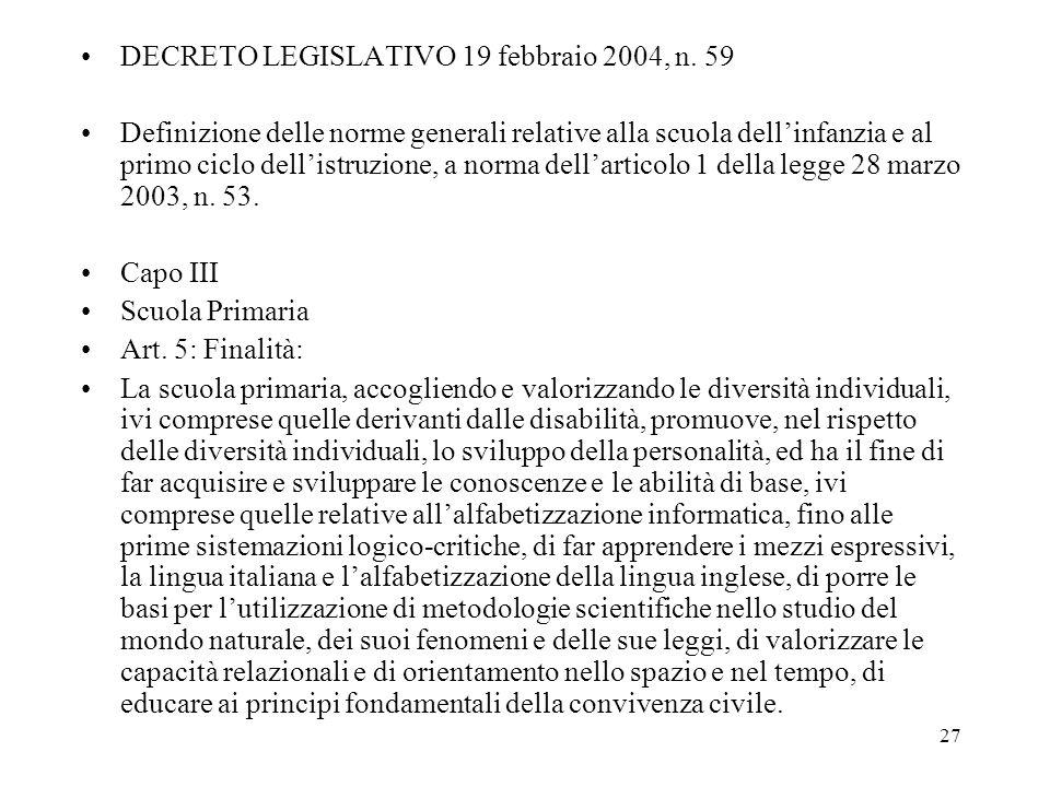 DECRETO LEGISLATIVO 19 febbraio 2004, n. 59