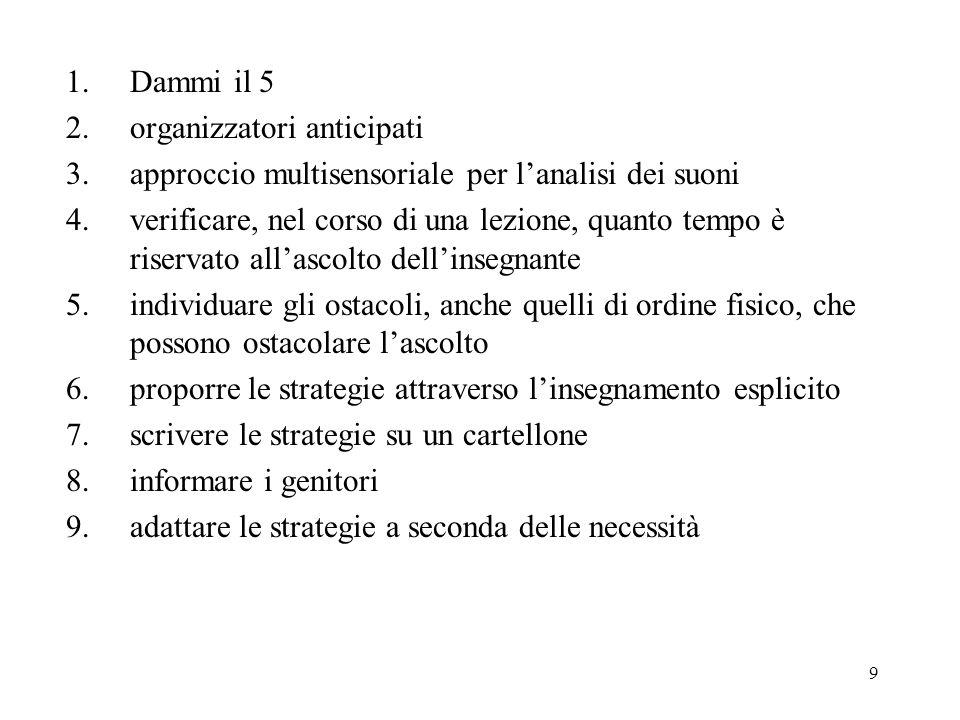 Dammi il 5 2. organizzatori anticipati. 3. approccio multisensoriale per l'analisi dei suoni.