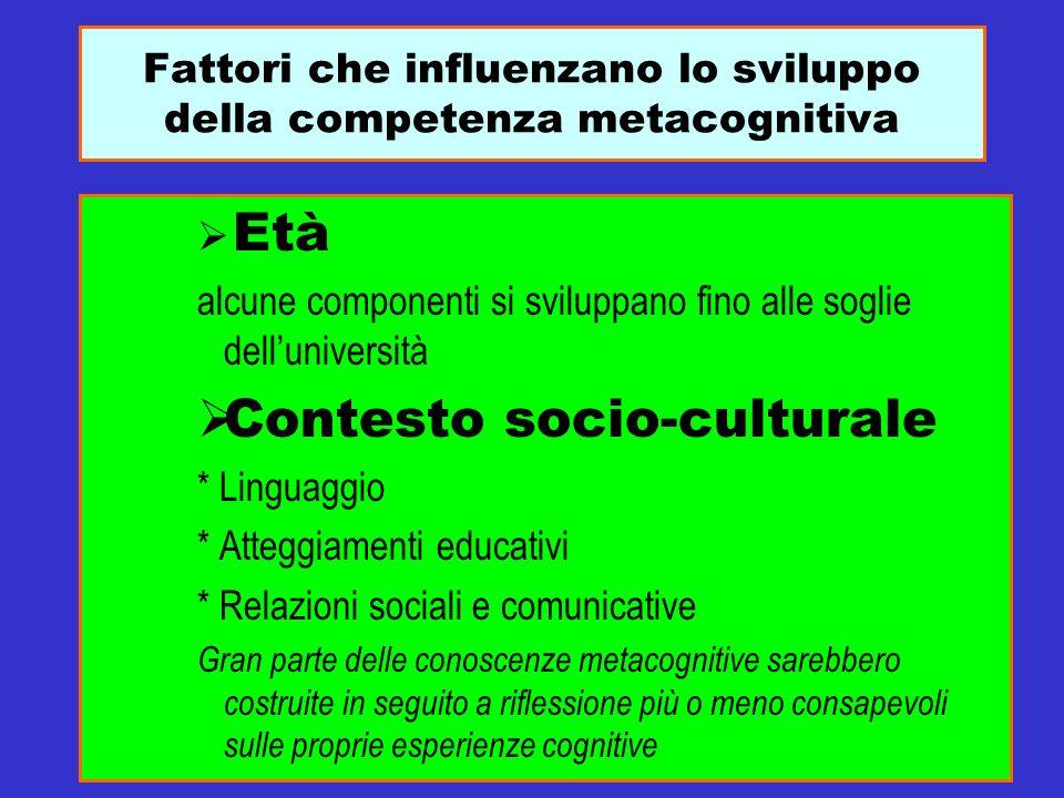 Fattori che influenzano lo sviluppo della competenza metacognitiva