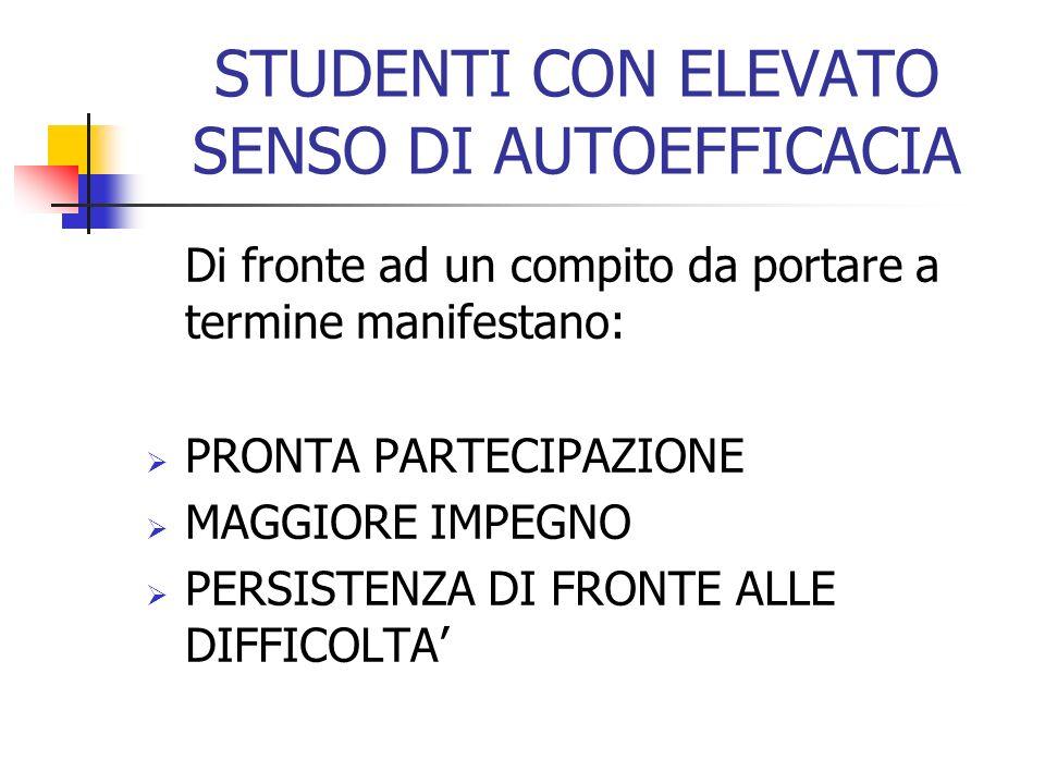 STUDENTI CON ELEVATO SENSO DI AUTOEFFICACIA