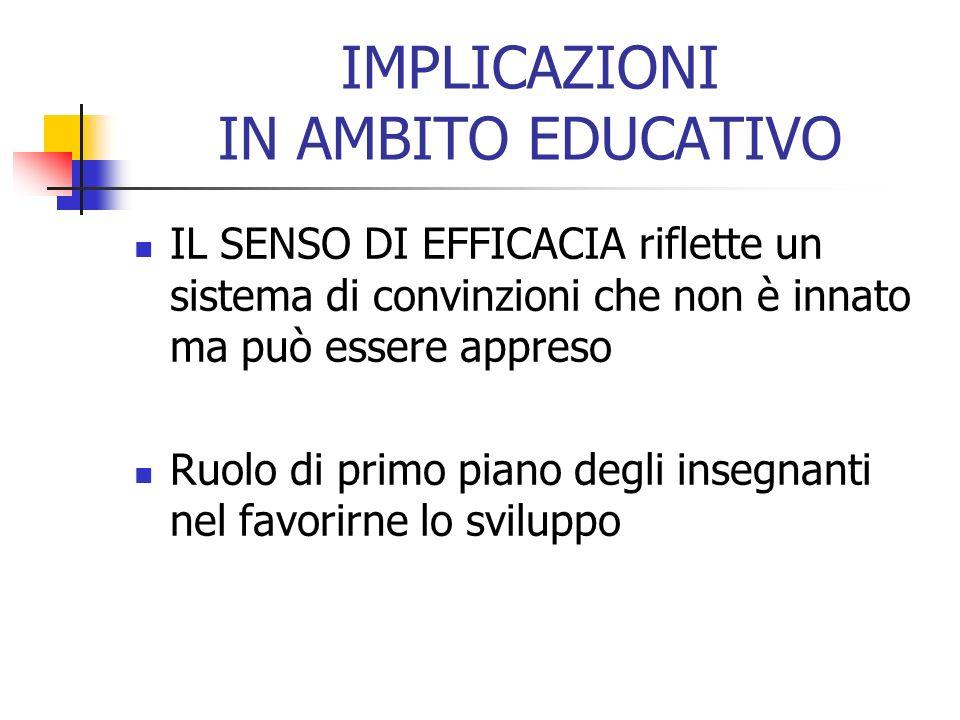 IMPLICAZIONI IN AMBITO EDUCATIVO