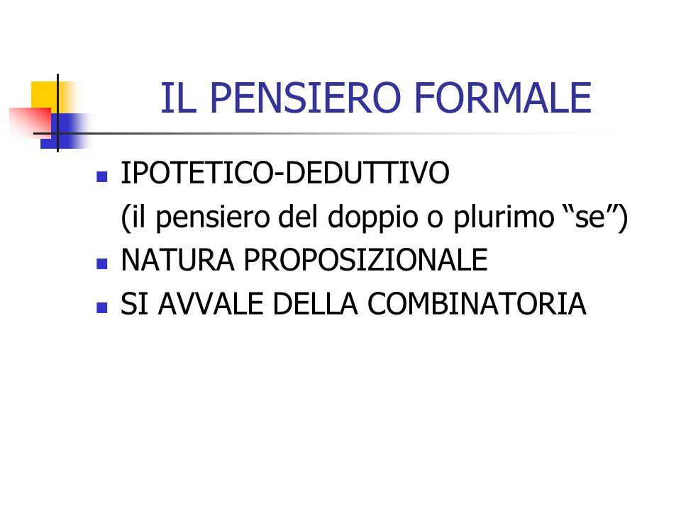 IL PENSIERO FORMALE IPOTETICO-DEDUTTIVO