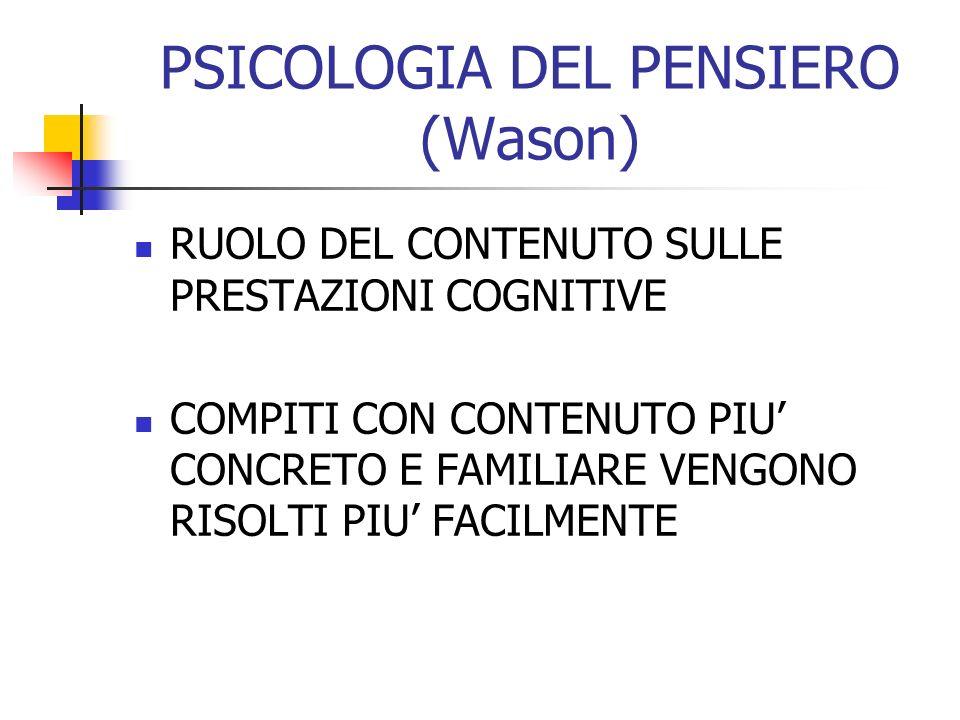 PSICOLOGIA DEL PENSIERO (Wason)