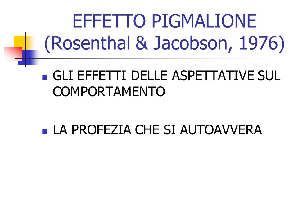 EFFETTO PIGMALIONE (Rosenthal & Jacobson, 1976)