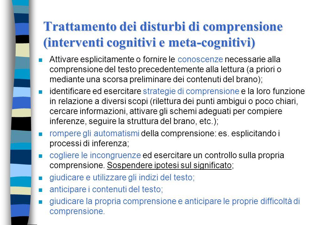 Trattamento dei disturbi di comprensione (interventi cognitivi e meta-cognitivi)