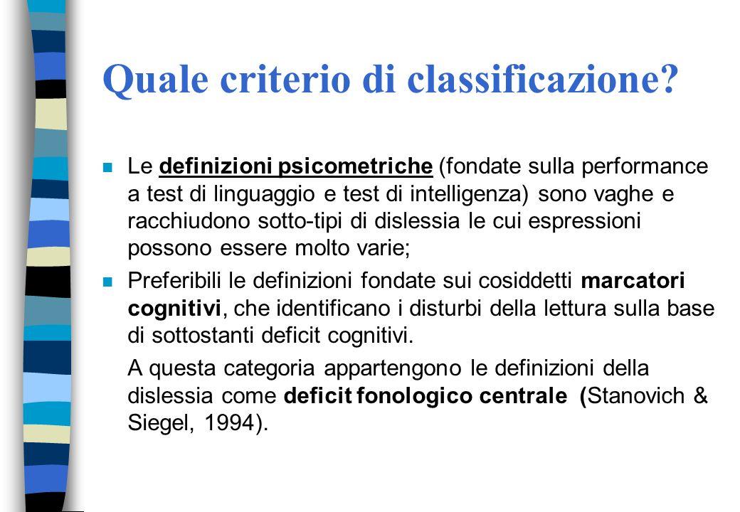 Quale criterio di classificazione
