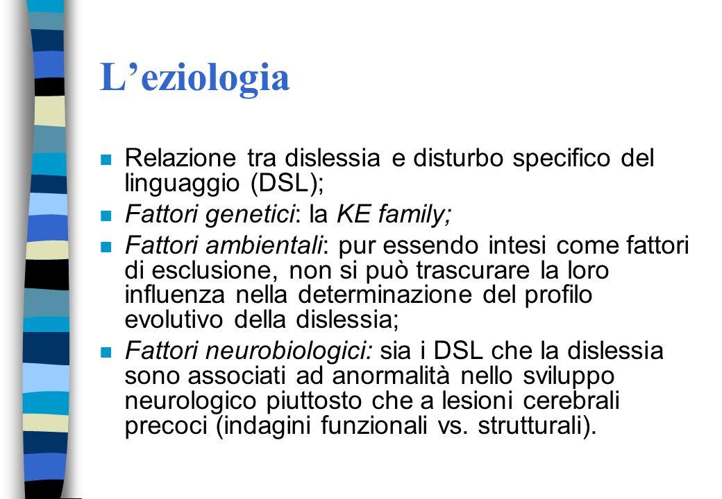 L'eziologia Relazione tra dislessia e disturbo specifico del linguaggio (DSL); Fattori genetici: la KE family;